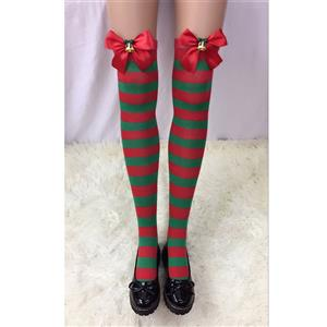 Cute Christmas Stockings, Sexy Thigh Highs Stockings, Red and Green Stripes Cosplay Stockings, Anime Thigh High Stockings, Christmas Red and Green Stripes Stockings, Stretchy Nightclub Knee Stockings, #HG18553