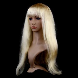 Fashion Gold Long Straight Wig, Gold Straight Bangs Long Wig, Sexy Masquerade Straight Hair Wig, Fashion Party Long Straight Wig, Long Straight Hair Cosplay Wig, #MS16115