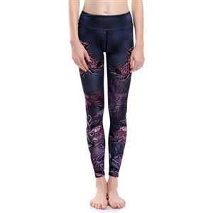 Classical Printed Yoga Pants, High Waist Tight Yoga Pants, Fashion Printed Fitness Pants, Casual Stretchy Sport Leggings, Women's High Waist Tight Full length Pants, #L16178