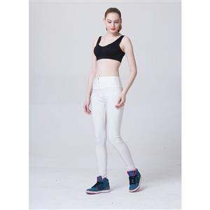 Fashion Stretchy Plain Zipper Pants Tights Workout Leggings Running Exercise L11753