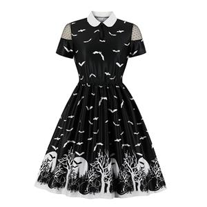 Sexy Halloween Party Dress, Fashion Casual Halloween Midi Dress, Sexy Party Dress, Retro Party Dresses for Women 1960, Vintage Printed Dresses 1950's, Plus Size Dress, Sexy OL Dress, Vintage Dresses for Women, #N19559