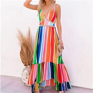 Sexy Summer Party Dresses, Women's Cocktail Party Dress, Sexy Daily Casual Dress,Cocktail Party Dress,Spaghetti Straps Low-cut Dress, Sexy Beach Dress, Rainbow Stripes Print Dress, #N21016