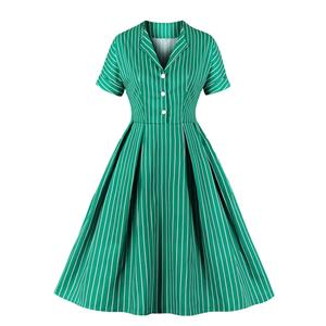 Sexy A-line Dress,Plus Size Spring Dress,Vintage Dresses for Women,High Waist Dresses for Women,Stand-up Collar Dress for Women, Daily Striped Dress,High Waist Midi Swing Dress, #N20946