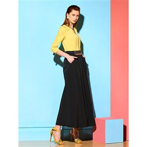 Women's Fashion V Neck 3/4 Length Sleeves Patchwork Maxi Dress N14962