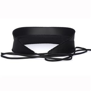 Fashion Black Faux Leather Around Self Tie Patchwork Wide Girdle Waist Belt N15198
