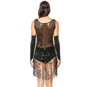 Sexy 1920s Flapper Girl Sequin Tassel Clubwear Costume See-through Dancing Bodysuit N20119