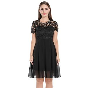 Sexy See-through Lace Swing Dress, Vintage Sleeveless Cut-away Shoulders Cocktail Party Dress, Fashion Casual Office Lady Dress, Sexy Tea Party Dress, Retro Party Dresses for Women 1960, Vintage Dresses 1950's, Plus Size Dress, Sexy OL Dress, Vintage Party Dresses for Women, Vintage Dresses for Women, #N20060
