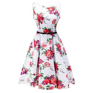 Retro Dresses for Women 1960, Vintage Dresses 1950's, Vintage Dress for Women, Gardon Dresses, Cheap Swing Dress, Floral Print Dress, #N12510
