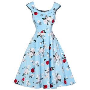Retro Dresses for Women 1960, Vintage Dresses 1950's, Vintage Dress for Women, Gardon Dresses, Cheap Swing Dress, Floral Print Dress, #N12532