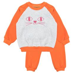 Girls Lovely Cat Embroidery Cotton Sweatsuit, Cotton Sweatsuit for Girls, Girls Jersey Outfit for Winter, Sweatshirt and Sweatpants Set, Fleece Outfit, #N12344