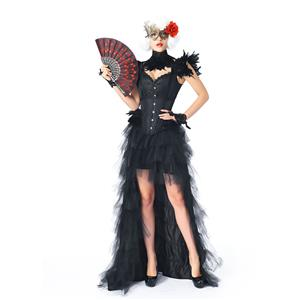 Victorian Gothic Black Feather Jacquard Wide Straps Overbust Corset High Low Skirt Set N20347