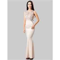 Cheap Clubwear Dress, Sexy Champagne Gown, Hot Sale Sleeveless Dress, Evening Party Dress, Sexy Evening Long Gown For Women, Fishtail Gown, #N12663