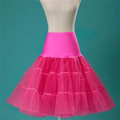 Sexy Hot-pink Skirt Petticoat, Fashion Hot-pink Skirt, Cheap Ladies Tulle Petticoat, Party Dress Petticoat, Plus Size Petticoat, #HG11255