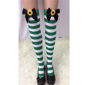 Lovely Stockings, Sexy Thigh Highs Stockings, Green-white Strips Cosplay Stockings, Black  Bowknot with Sunflower Cosplay Thigh High Stockings, Stretchy Nightclub Knee Stockings, #HG18556