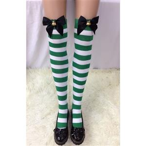 Christmas Stockings, Sexy Thigh Highs Stockings, Green-white Strips Cosplay Stockings, Black Bowknot with Bell Cosplay Thigh High Stockings, Stretchy Nightclub Knee Stockings, #HG18546