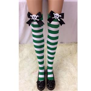 Halloween Stockings, Sexy Thigh Highs Stockings, Green-white Strips Cosplay Stockings, Black Bowknot with Skeleton Cosplay Thigh High Stockings, Stretchy Nightclub Knee Stockings, #HG18561