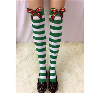 Christmas Stockings, Sexy Thigh Highs Stockings, Green-white Strips Cosplay Stockings, Christmas Color Bowknot Cosplay Thigh High Stockings, Stretchy Nightclub Knee Stockings, #HG18547