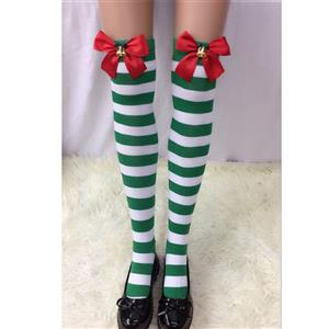 Christmas Stockings, Sexy Thigh Highs Stockings, Green-white Strips Cosplay Stockings, Red Bowknot with Bell Cosplay Thigh High Stockings, Stretchy Nightclub Knee Stockings, #HG18545