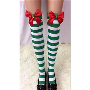 Christmas Stockings, Sexy Thigh Highs Stockings, Green-white Strips Cosplay Stockings, Red Bowknot with Christmas Tree Cosplay Thigh High Stockings, Stretchy Nightclub Knee Stockings, #HG18543