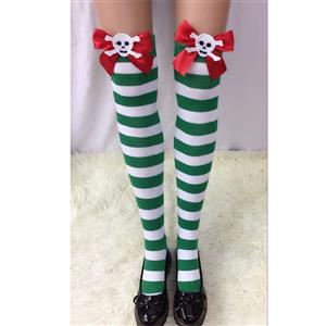 Halloween Stockings, Sexy Thigh Highs Stockings, Green-white Strips Cosplay Stockings, Red Bowknot with Skeleton Cosplay Thigh High Stockings, Stretchy Nightclub Knee Stockings, #HG18560