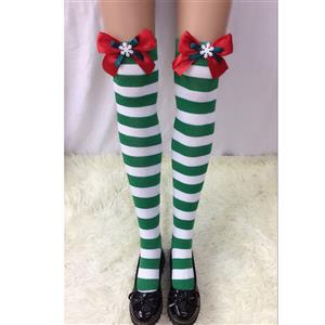 Christmas Stockings, Sexy Thigh Highs Stockings, Green-white Strips Cosplay Stockings, Red Bowknot with Snowflake Cosplay Thigh High Stockings, Stretchy Nightclub Knee Stockings, #HG18544