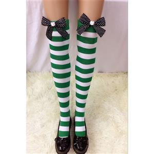 Lovely Stockings, Sexy Thigh Highs Stockings, Green-white Strips Cosplay Stockings, Spots Bowknot with Cartton Cat Cosplay Thigh High Stockings, Stretchy Nightclub Knee Stockings, #HG18559