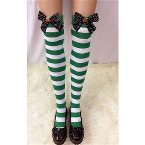 Lovely Stockings, Sexy Thigh Highs Stockings, Green-white Strips Cosplay Stockings, Spots Bowknot with Cherry Cosplay Thigh High Stockings, Stretchy Nightclub Knee Stockings, #HG18558