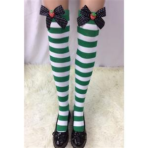 Lovely Stockings, Sexy Thigh Highs Stockings, Green-white Strips Cosplay Stockings, Spots Bowknot with Strawberry Cosplay Thigh High Stockings, Stretchy Nightclub Knee Stockings, #HG18557