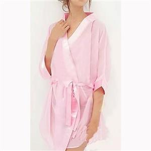 Pink Soft Chiffon Nightgown, Silk Lightweight Sleepwear Robe, Sexy Sleepwear Bathrobe Pink, See-through Mesh Bathrobe Nightgown, Half Sleeve Pink Bathrobe, See-through Chiffon Nightgown for Women, #N17463