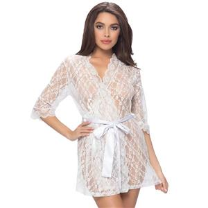 White Soft Chiffon Nightgown, Silk Lightweight Sleepwear Robe, Sexy Sleepwear Bathrobe Pink, See-through Mesh Bathrobe Nightgown, Half Sleeve White Bathrobe, See-through Chiffon Nightgown for Women, #N18322