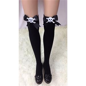 Halloween Black Stockings, Sexy Thigh Highs Stockings, Pure Black Cosplay Stockings, Anime Thigh High Stockings, Black Bowknot Stocking, Stretchy Nightclub Knee Stockings, #HG18460