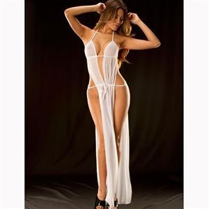 White Halter Deep V Neck Nightgown, Sexy Deep V Neck Backless Long Lingerie Dress, Fashion Halter Mesh Lingerie Nightgown, Valentine's Day Lingerie Nightgown, Sexy Deep V Neck High Split Nightgown, Sexy Mesh See-through Nightgown, High Split Hollow Out Nightgown, #N16509
