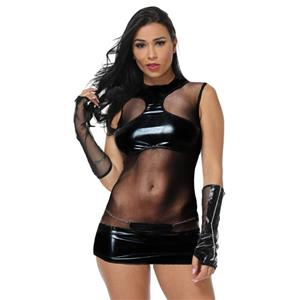 Mini Hollow Out Nightclub Bodycon, Sexy Black Faux Leather Bodysuit, Halter Neck Jumper, Sexy Hollow Out Faux Leather Clubwear, Faux Leather Bandage Mini Bodysuit, #N18675