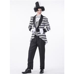 Men's Jester Costume, Clown Cosplay Costume, Harlequin Joker Costume Men, Misfit Hipster Costume, Evil Joker Costume, #N14760