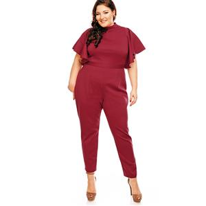 Plus Size?Jumpsuit, Jumpsuits for Women, High Neck Jumpsuit, Slim Plain Jumpsuit, Short Sleeve Jumpsuit, Fashion Jumpsuit Plus Size, #N14461