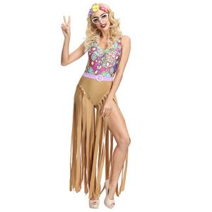 1960s Adult Hippie Hottie One-piece Disco Dancing Jumpsuit Costume, Hippie Theme Party Dacing Costume,Women's Dancing Costume, Women's Disco Halloween Costume, 1960s Hippie Hottie Fancy Dress Costume, Hippie Dress Adult Costume, Adult Peace & Love Hippie Costume, #N19394