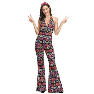 Hippie Theme Party Dacing Costume,Women's Dancing Costume, Women's Disco Halloween Costume, 1960's Hippie Hottie Fancy Dress Costume, Hippie Dress Adult Costume, Adult Peace & Love Hippie Costume, #N19123