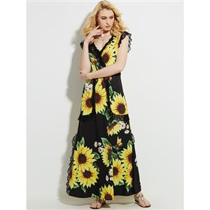 V Neck Ankle Length Long Maxi Dress, Sleeveless Maxi Dress, Floral Print Party Casual Maxi Dress,  Maxi Dresses for Women Casual, Summer Beach Maxi Dress, #N13095