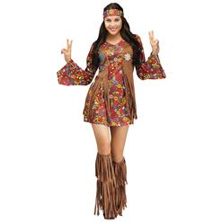 1960's Hippie Hottie Fancy Dress Costume, Women's Vintage Costume, Hippie Dress Adult Costume, Adult Peace & Love Hippie Costume, #N12598