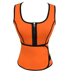 Women's Waist Cincher Vest Corset, Plus Size Corset, Women's Sport Corset, Orange Waist Training Vest Corset with Girdles, Body Shaper Corset Vest, #N12623