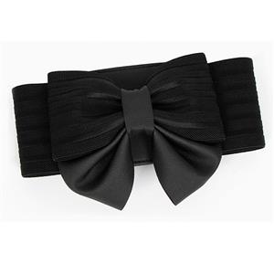Elegant Black Faux Leather Bowknot Elastic Wide Waistband Belt N18251