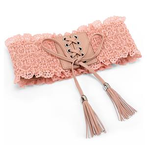 Floral Lace Wasit Belt, High Waist Cinch Belt, Lace-up Elastic Wasit Belt, Wide Waist Cincher Belt Pink, Lace Up Wide Waistband Cinch Belt, Elastic Waist Belt for Women, #N16943