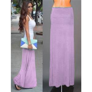 Women Floor Length Skirt, Maxi Skirt, Fold-over Waist Skirt, Modal Solid Flared Maxi Skirt, Super Soft Maxi Skirt, Knit Skirt, #N12877
