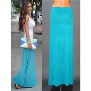 Hot Selling Lightweight Floor Length Fold Over Maxi Skirt N12878