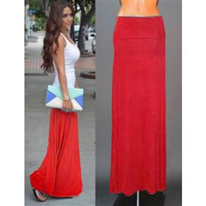 Women Floor Length Skirt, Maxi Skirt, Fold-over Waist Skirt, Modal Solid Flared Maxi Skirt, Super Soft Maxi Skirt, Knit Skirt, #N12879