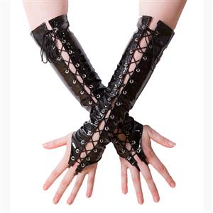 Black PVC Gloves, Sexy Long Lace-up gloves, Long Fingerless Gloves, Party Club Accessory, Lace-up Fingerless Gloves, Black Long Leather Gloves, Cosplay Costume Accessory, #HG17495