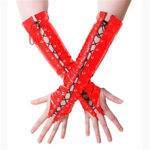 Red PVC Gloves, Sexy Long Lace-up gloves, Long Fingerless Gloves, Party Club Accessory, Lace-up Fingerless Gloves, Red Long Leather Gloves, Cosplay Costume Accessory, #HG17496