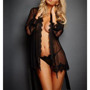 Black Lace Trim Robe, Mesh Lightweight Sleepwear Robe, Sexy Sleepwear Robe Black, Sheer Mesh Robe Nightgown, Long Sleeve Nightgown for Women, #N17354