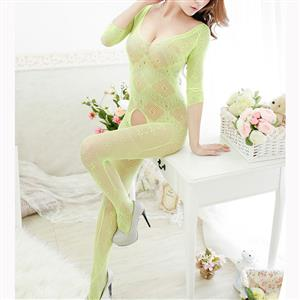Sexy Long Sleeve Bodysuit Lingerie, Light Green See-through Crotchless Bodystocking, Long Sleeve See-through Bodystocking Lingerie, Sexy Hollow Out Crotchless Bodystocking, Long Sleeve Open Crotch Bodysuit Lingerie, V Neck See-through Open Crotch Bodystocking, #BS16969