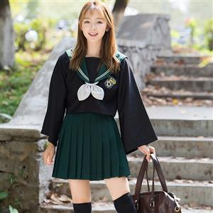 School Girl Costume, HP JK Uniform Costume, Schoolgirl Costume, School Girl Adult Costume, Japan School Uniform Cosplay Costume, the Snake Academy JK Uniform, #N18898
